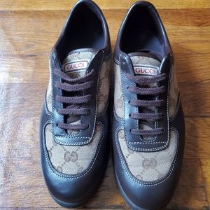 Gucci Sneakers Brown Leather & GG Logo